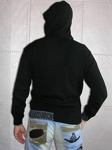 Вязаный мужской свитер с капюшоном - Схемы вязания платьев.